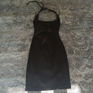 Brown Cache Satin Halter Bodycon dress sz 2
